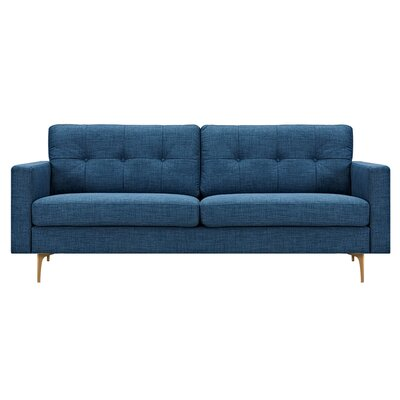 Kellie Sofa Upholstery: Stone Blue, Finish: Brass