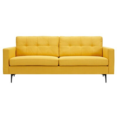 Kellie Sofa Upholstery: Papaya Yellow, Finish: Black