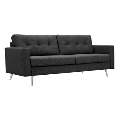 Shanna Sofa Upholstery: Charcoal Gray, Finish: Brass