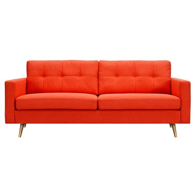 Shanna Sofa Upholstery: Retro Orange, Finish: Brass