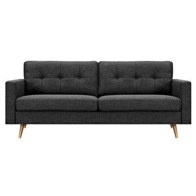 Shanna Sofa Upholstery: Charcoal Gray, Finish: Silver