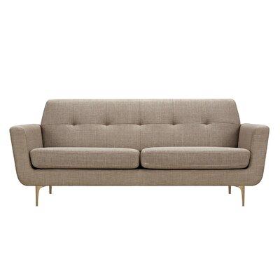 Trisha Sofa Upholstery: Light Sand, Finish: Brass