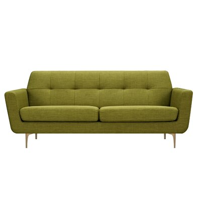 Trisha Sofa Upholstery: Avocado Green, Finish: Brass