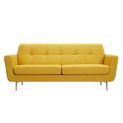 Trisha Sofa Upholstery: Papaya Yellow, Finish: Brass