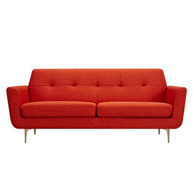 Trisha Sofa Upholstery: Retro Orange, Finish: Brass
