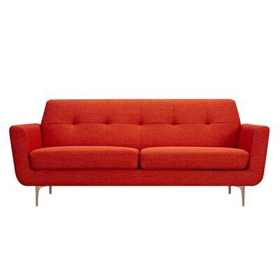 Trisha Sofa Upholstery: Retro Orange, Finish: Brass