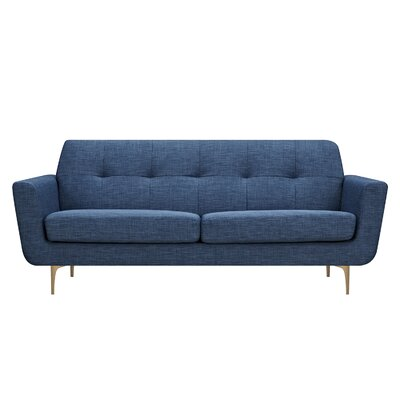 Trisha Sofa Upholstery: Stone Blue, Finish: Brass
