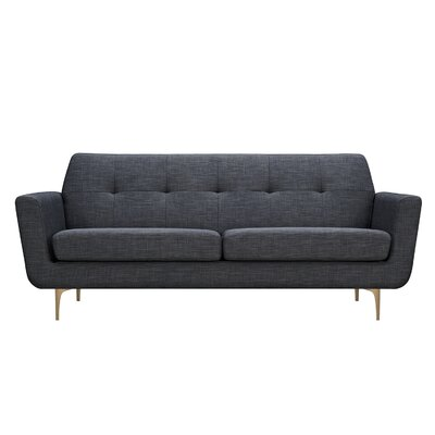 Trisha Sofa Upholstery: Charcoal Gray, Finish: Brass