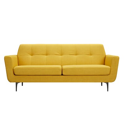 Trisha Sofa Upholstery: Papaya Yellow, Finish: Black