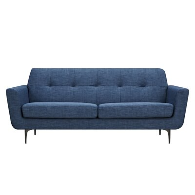 Trisha Sofa Upholstery: Stone Blue, Finish: Black