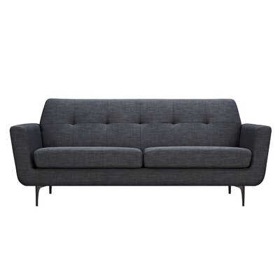 Trisha Sofa Upholstery: Charcoal Gray, Finish: Black