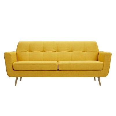 Toni Sofa Upholstery: Papaya Yellow, Finish: Brass