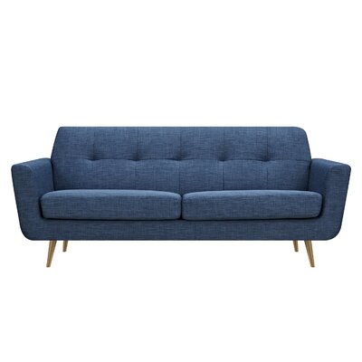 Toni Sofa Upholstery: Stone Blue, Finish: Brass