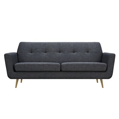 Toni Sofa Upholstery: Charcoal Gray, Finish: Brass
