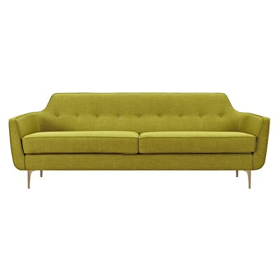 Joy Sofa Upholstery: Avocado Green, Finish: Brass