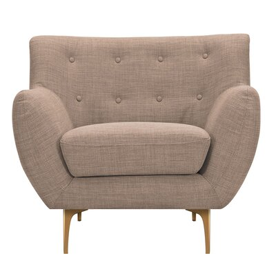 Mindy Armchair Upholstery: Light Sand, Finish: Brass