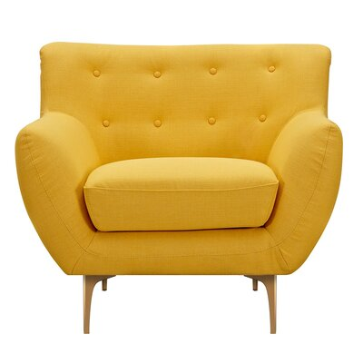 Mindy Armchair Upholstery: Papaya Yellow, Finish: Brass