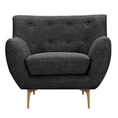 Mindy Armchair Upholstery: Charcoal Gray, Finish: Brass