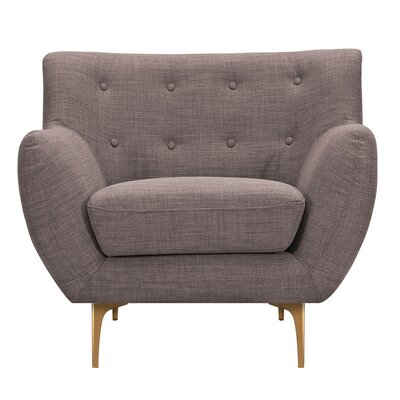 Mindy Armchair Upholstery: Aluminium Gray, Finish: Brass