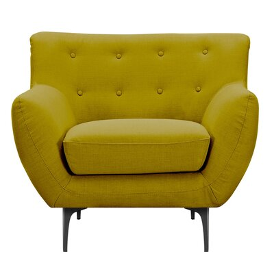 Mindy Armchair Upholstery: Avocado Green, Finish: Black