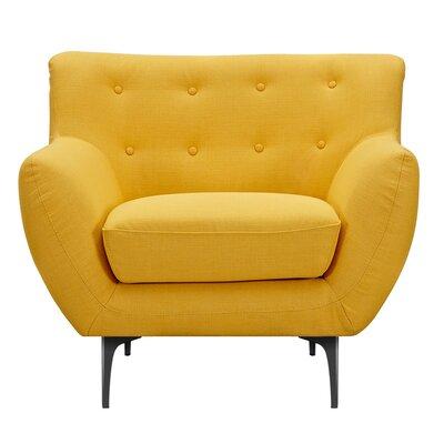 Mindy Armchair Upholstery: Papaya Yellow, Finish: Black