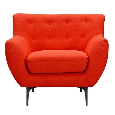 Mindy Armchair Upholstery: Retro Orange, Finish: Black