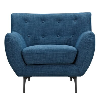 Mindy Armchair Upholstery: Stone Blue, Finish: Black