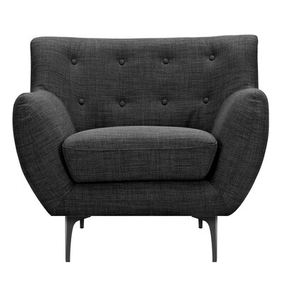 Mindy Armchair Upholstery: Charcoal Gray, Finish: Black