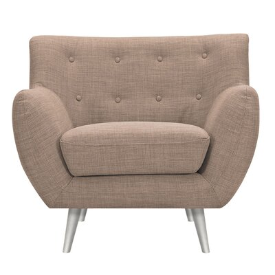 Suzanne Armchair Upholstery: Light Sand, Finish: Silver