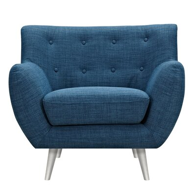 Suzanne Armchair Upholstery: Stone Blue, Finish: Silver