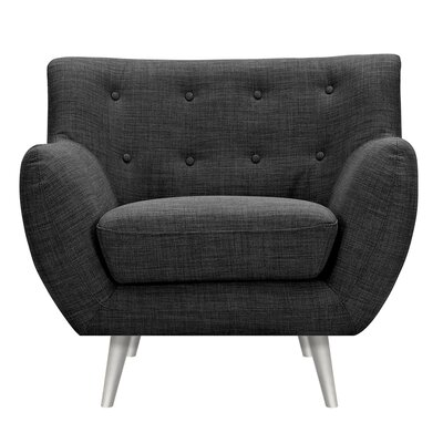 Suzanne Armchair Upholstery: Charcoal Gray, Finish: Silver