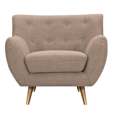 Suzanne Armchair Upholstery: Light Sand, Finish: Brass
