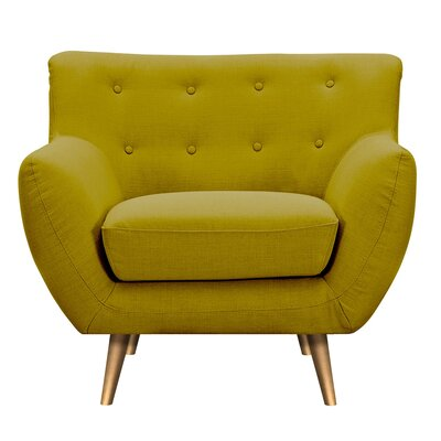Suzanne Armchair Upholstery: Avocado Green, Finish: Brass