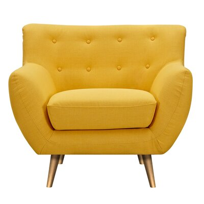 Suzanne Armchair Upholstery: Papaya Yellow, Finish: Brass