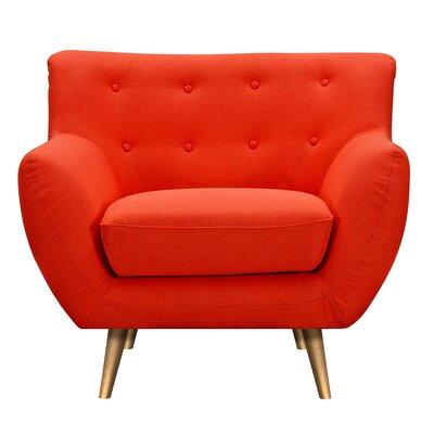 Suzanne Armchair Upholstery: Retro Orange, Finish: Brass