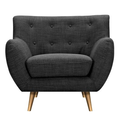 Suzanne Armchair Upholstery: Charcoal Gray, Finish: Brass