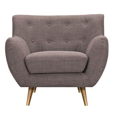 Suzanne Armchair Upholstery: Aluminium Gray, Finish: Brass