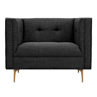 Jodi Armchair Upholstery: Charcoal Gray, Finish: Brass