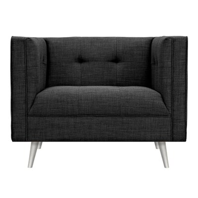 Christie Armchair Upholstery: Charcoal Gray, Finish: Silver