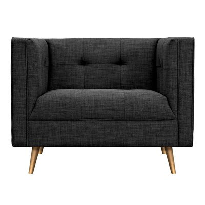 Christie Armchair Upholstery: Charcoal Gray, Finish: Brass