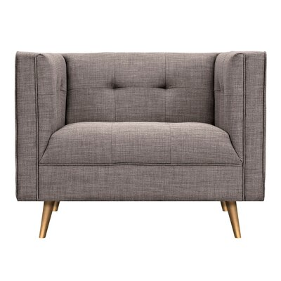 Christie Armchair Upholstery: Aluminium Gray, Finish: Brass