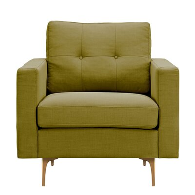 Kellie Armchair Upholstery: Avocado Green, Finish: Brass