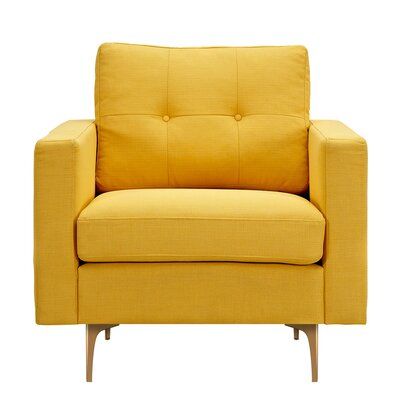 Kellie Armchair Upholstery: Papaya Yellow, Finish: Brass