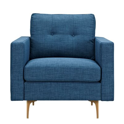 Kellie Armchair Upholstery: Stone Blue, Finish: Brass