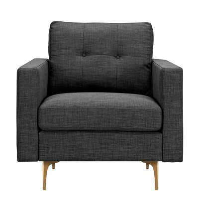 Kellie Armchair Upholstery: Charcoal Gray, Finish: Brass