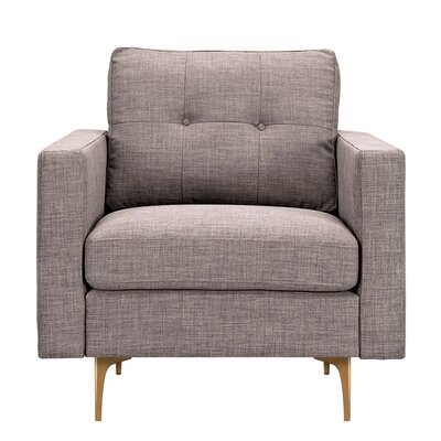 Kellie Armchair Upholstery: Aluminium Gray, Finish: Brass