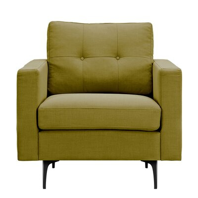 Kellie Armchair Upholstery: Avocado Green, Finish: Black