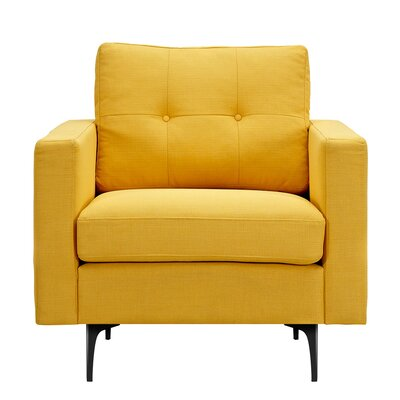 Kellie Armchair Upholstery: Papaya Yellow, Finish: Black