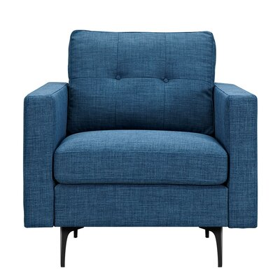 Kellie Armchair Upholstery: Stone Blue, Finish: Black