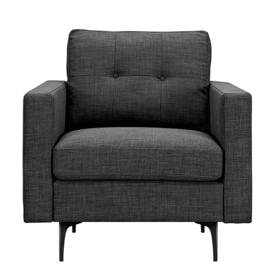 Kellie Armchair Upholstery: Charcoal Gray, Finish: Black